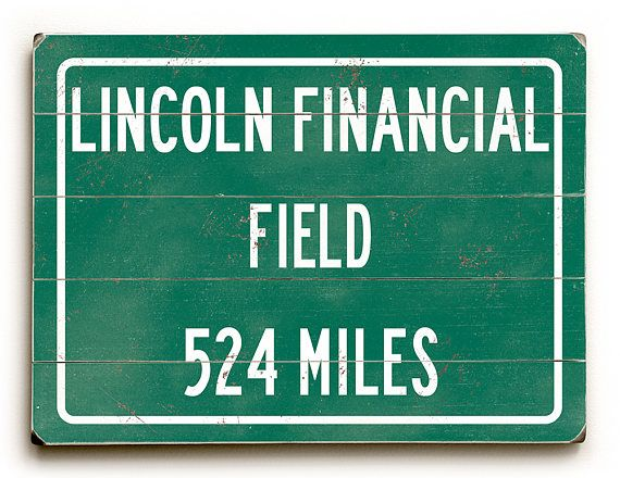 Highway distance sign Lincoln Financial Field Philadelphia