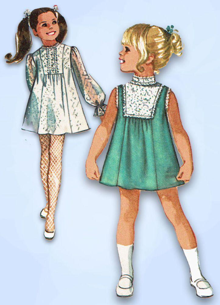 1960s Vintage Simplicity Sewing Pattern 8715 Toddler Girls Boho Dress Size 4 23B #Simplicity #DressPattern