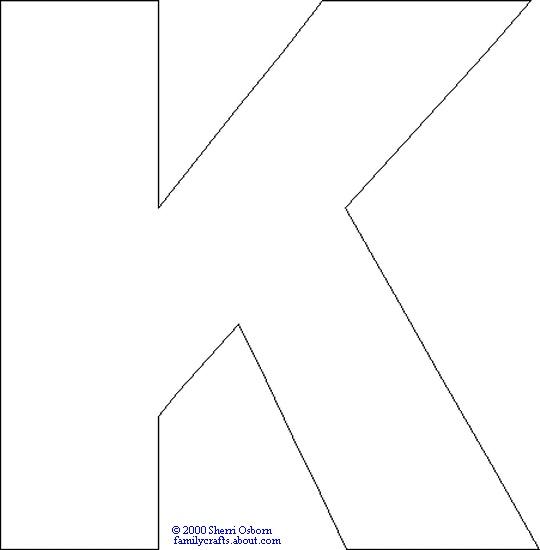 capital k alphabet print color page