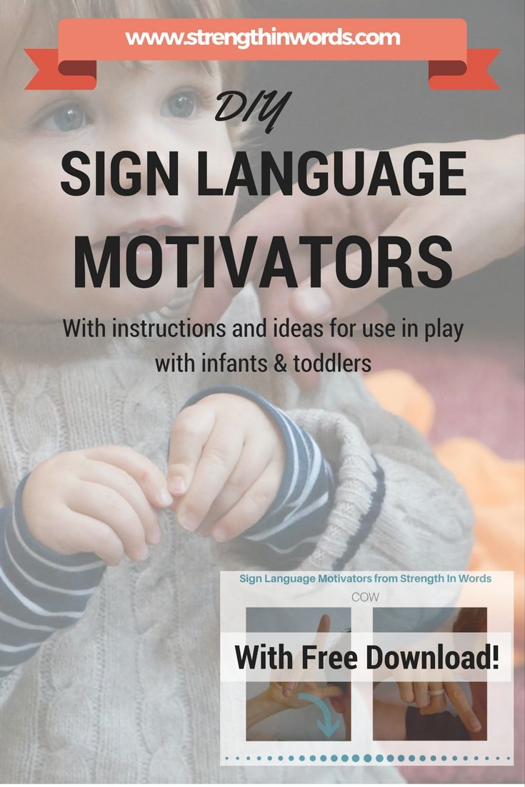 "Promote your young child's use of gestures and learn about early language development - download our ""DIY Sign Language Motivators"" from Strength In Words, with instructions and ideas for use in play with infants & toddlers! http://www.strengthinwords.com/diyblog/2016/9/20/diy-sign-language-motivators"