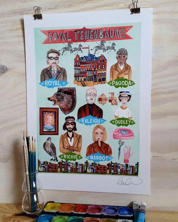 Impression impression de Wes Anderson de Royal par Laurakatedraws