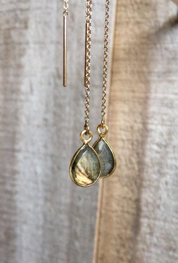 58f060339490e Gemstone Threader Earrings, U Threader Earrings, Chain Earrings, Ear ...