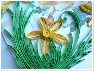 kartka quilling żonkile: Quill Creations, Quilled Creations, Kartka Quill, Quill Żonkil, Catherine Quill Blogspot D