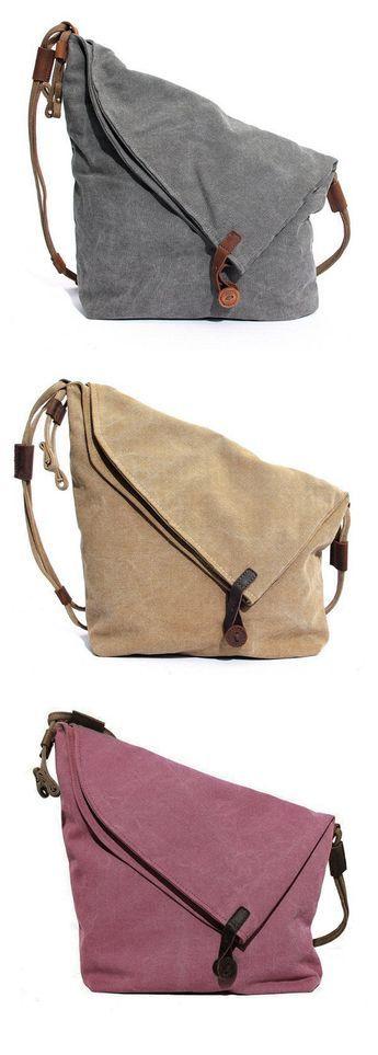 US$39.89 Ekphero Women Vintage Messenger Bag_Genuine Leather Canvas Crossbody Bag _Tribal Rucksack