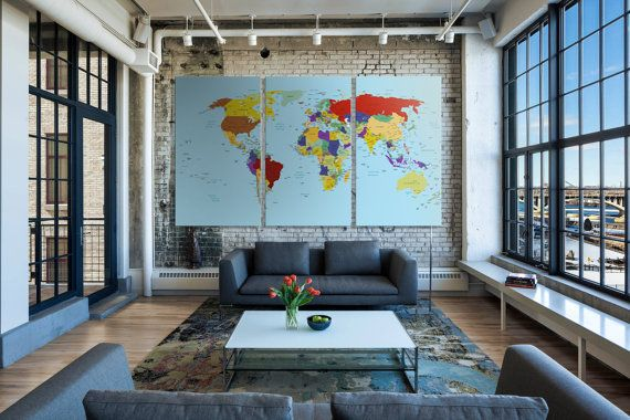 26 best travel quotes travel decor images on pinterest travel items similar to large push pin map canvas world map push pin personalized executive world travel map with pins travel map colorful pin world map canvas gumiabroncs Images