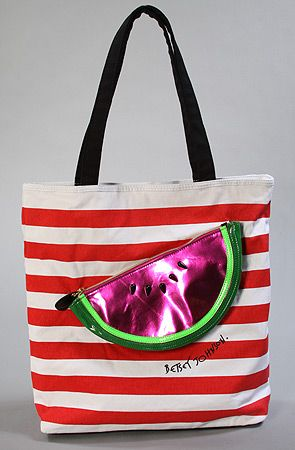 $88 The Citrus Resort Tote Bag in Watermelon by Betsey Johnson - Use repcode SMARTCANUCKS for 20% off on #karmaloop - http://www.lovekarmaloop.comJohnson Totes, Betseyjohnson, Totes Bags, Watermelon Totes, Resorts Totes, Citrus Resorts, Betsey Johnson, Bags Beach, Tote Bags