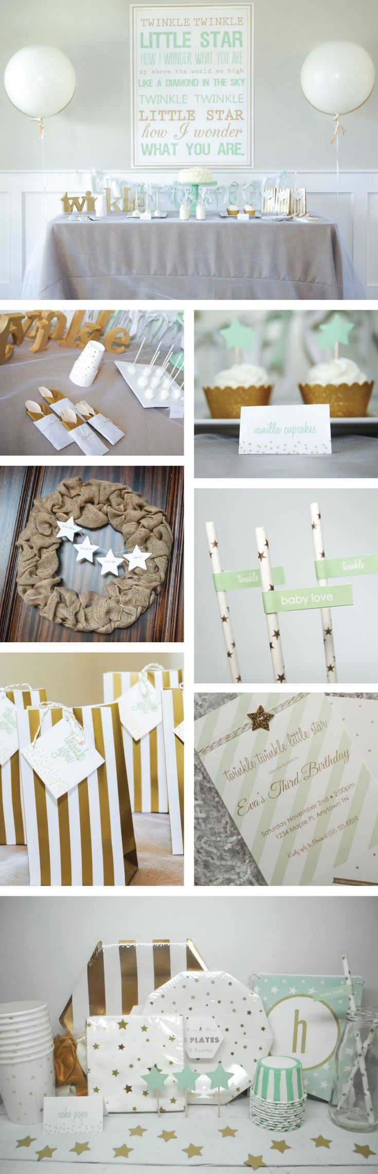 Twinkle twinkle little star themed birthday party or baby shower - decorations, tableware and table linen | Burlap and gold star party