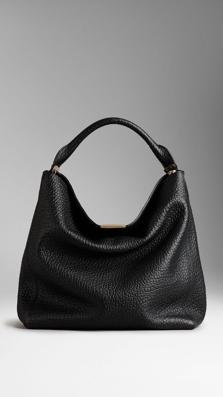 Medium Signature Grain Leather Hobo Bag | Burberry