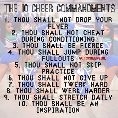 The cheer commandments
