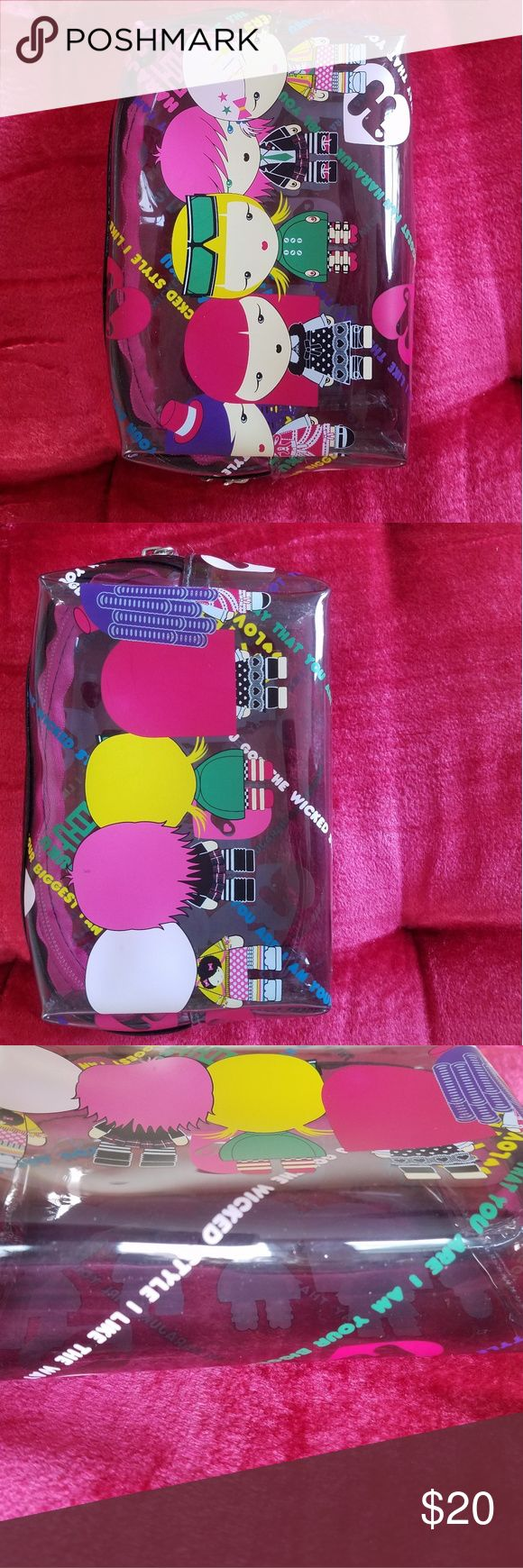 Cute plastic pouch Harajuku Girls pouch/ make up bag. Clear with a cute, colorfu…