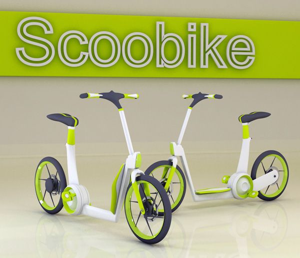 Scoobike - Urban Scooter/Bike by Ardhyaska Amy. With its simplistic design, the Scoobike combines the ability to push or pedal your way to and from school, work or wherever you need to go. This bike also includes a cool safety feature of LED lights powered from peddling. With easily adjustable seats, anyone can take it for a ride! #bike #exercise #YankoDesign