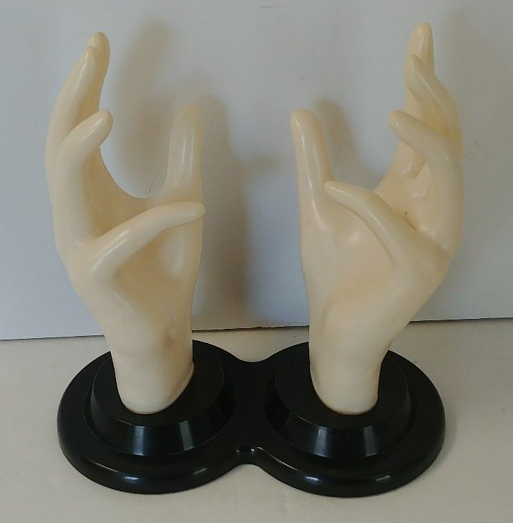 Vintage E & B GIFTWARE Double Hand Jewelry Ring Display Store Mannequin Hands  #EBgiftware