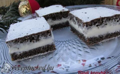 Mascarponés mákos kocka recept fotóval