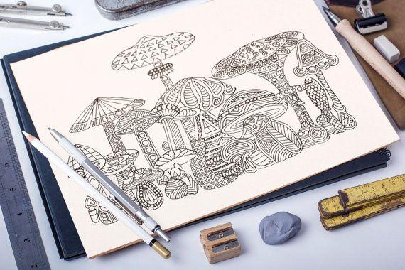 Magic Mushrooms adult coloring page
