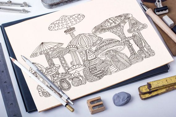Magic Mushrooms adult coloring page