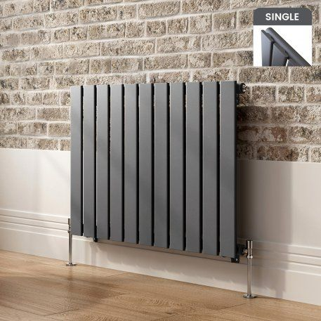 Horizontal Flat Panel Contemporary Gas Radiator in Anthracite 600mm x 832mm - soak.com