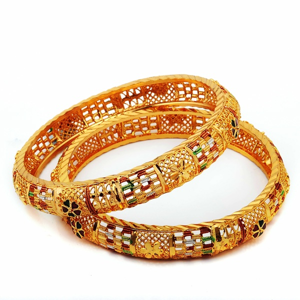 Ethnic 4 Micron Gold plated Bangles. Buy it now from www.daminiartisans.com
