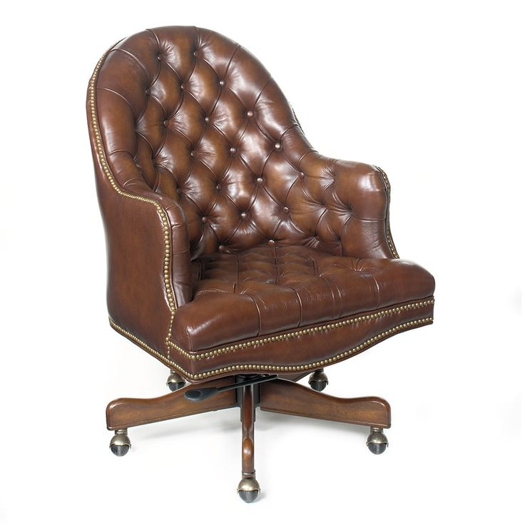 On Tufted Desk Chair In Leather