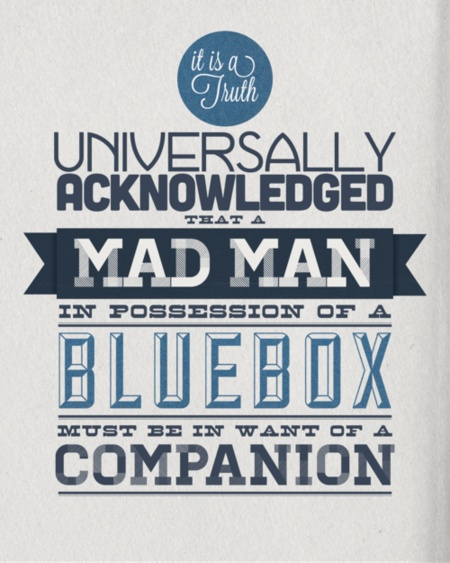 Mad Man in Possession of a Blue Box Needs Companion #dr #who #quote #poster #print #typography