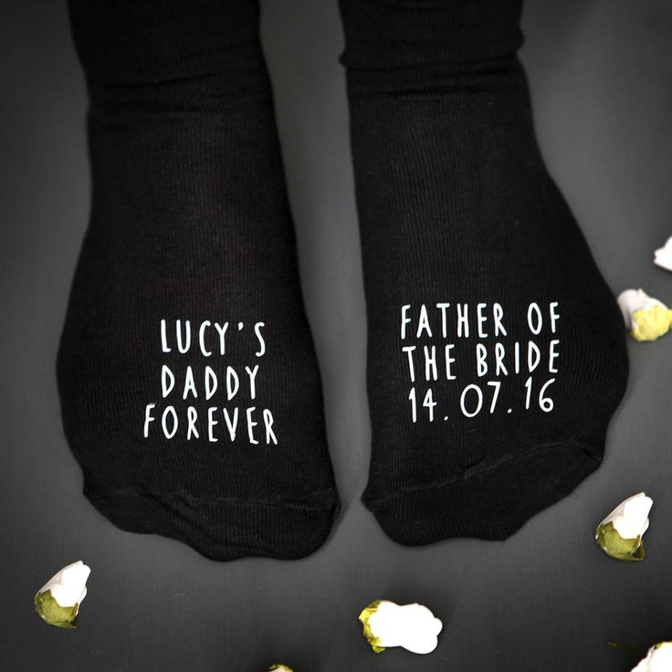 A special pair of wedding socks for the Father of the Bride to remind your Dad that he will always be your Daddy. These socks are personalised accross both feet And there is also an option for a personalised canvas bag. On a Bride's big day, having her Dad walking her down the aisle is such a special moment. These socks commemorate being given away by your Dad on your wedding day by celebrating his important role not just in that moment but for all of your life. They read Father of the…