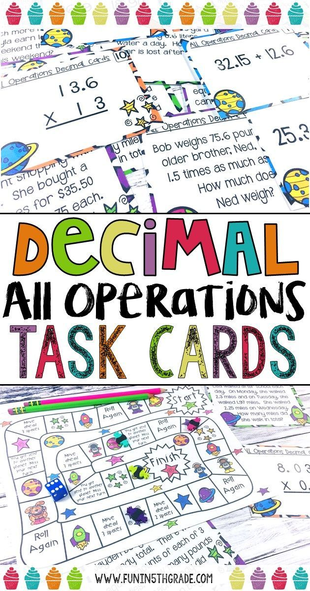 All operation decimal practice that is fun and engaging.  Use this task card set, with or without the included game board, to have your students practicing the 4 different operations with decimals.  Students will enjoy learning decimals with this activity.