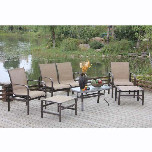 Evasio 6-Piece Outdoor Seating Set by Brookstone. $1449.99. Evasio 6-Piece Outdoor Seating Set. The sling seat provides full body support at the same time it yields comfortably to your shape. When you get thirsty, fear not - the included coffee table keeps your libation within arm's reach. The seats are also water resistant, offering extra durability. The powder-coated, weather resistant aluminum frame will put you at ease, knowing you're resting on a stable fr...