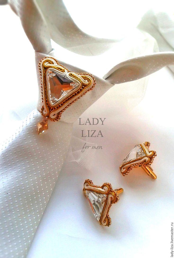 Купить Свадебная брошь на галстук Подарок мужчине, мужские украшения - золотой, мужские украшения