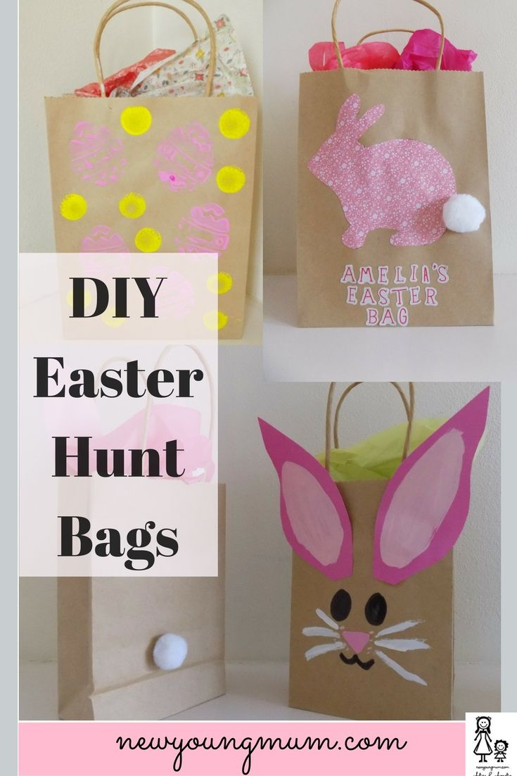 DIY Easter Bags. Make Your own Easter Egg Collection Bags. Simple Easter Craft, Easter Crafts, Kids Easter Crafts, Easter Egg Hunt Bags, Easter Egg Hunt Ideas,
