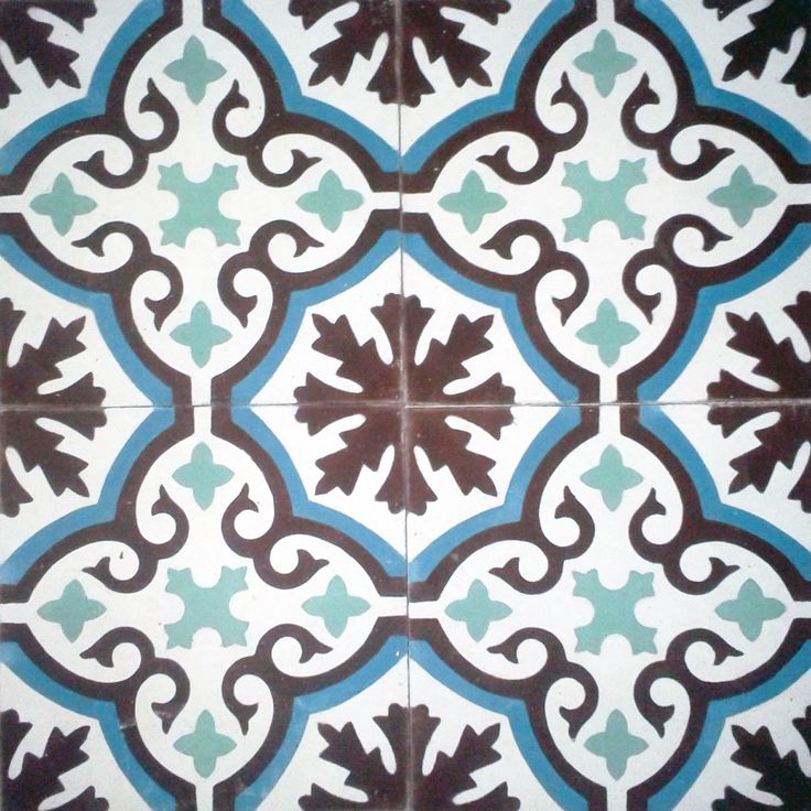 Floral Spanish design, ,Hydraulic Authentic Andalusian Tiles for both the floor and wall. MOD-198