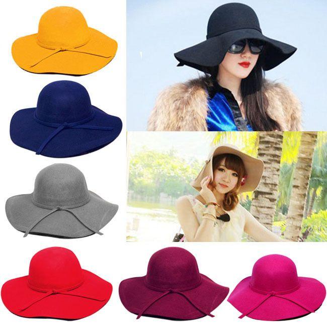 New Vintage Women's Wide Brim Wool Felt Bowler Fedora Hat Floppy Cloche Sun Cap #Other #Gray