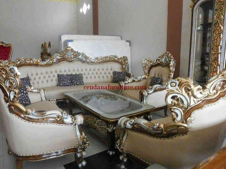 Kursi Sofa Tamu Mewah Putih Emas