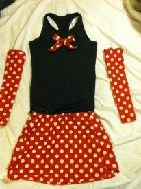 Minnie Mouse Inspired running costume with sleeves via Etsy