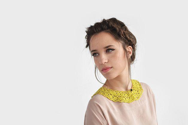 Collars – Yellow crochet collar, adjustable / Hand Crocheted – a unique product by plexida on DaWanda