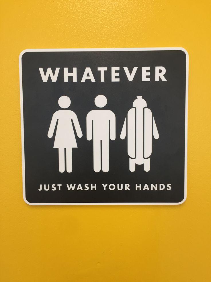 Daddy's Dogs all gender restroom sign