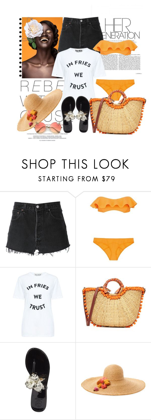 """""""Tangerine dream"""" by fashionqueenhq ❤ liked on Polyvore featuring RE/DONE, Lisa Marie Fernandez, Être Cécile, Sam Edelman, Tory Burch and Flora Bella"""
