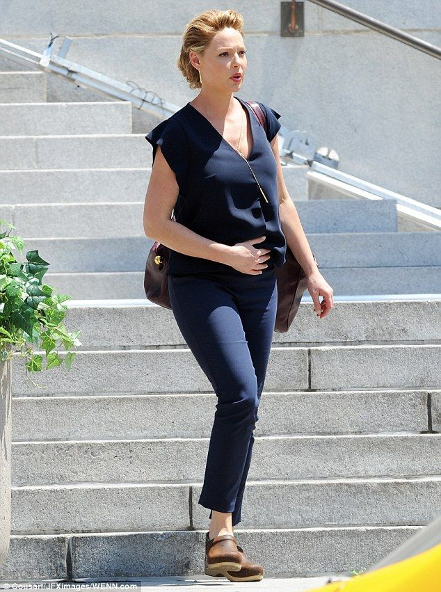 No sign of slowing down! Pregnant Katherine Heigl was spotted on the set of Doubt in downtown Los Angeles on Tuesday