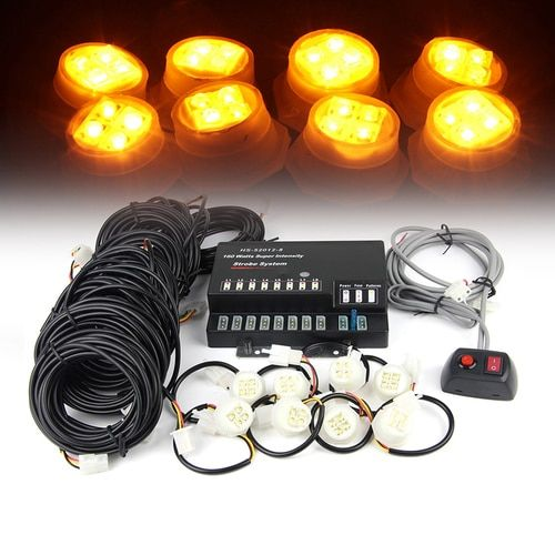 Xprite Amber 160W 8 LED Bulbs Hide-A-Way Strobe Lights
