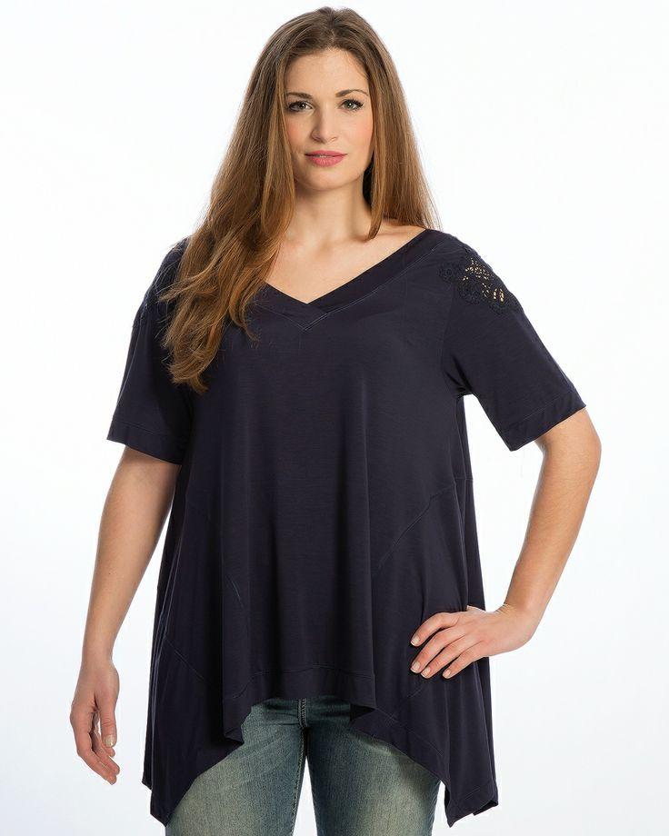 Μπλούζα με lace-detailed μανίκια — mat. XXL sizes