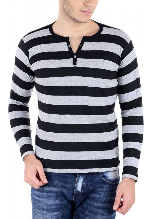 Buy Bigidea Smart Grey Black Striped Henely T Shirt online in India from fashionothon.com best price Henely T Shirt, Grey and Black t shirt,Mens t shirt, Cotton t shirt, shopping, fashionothon Shop online - http://www.fashionothon.com/men/trending-tees/henley-mens-t-shirt