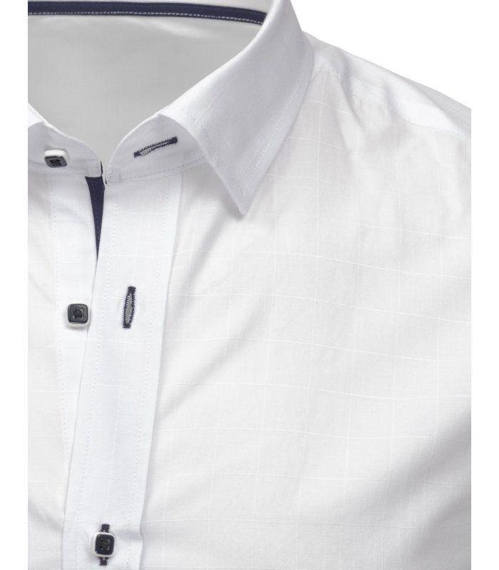 bee29ad9f712 Biela kockovaná košela s dlhými rukávmi