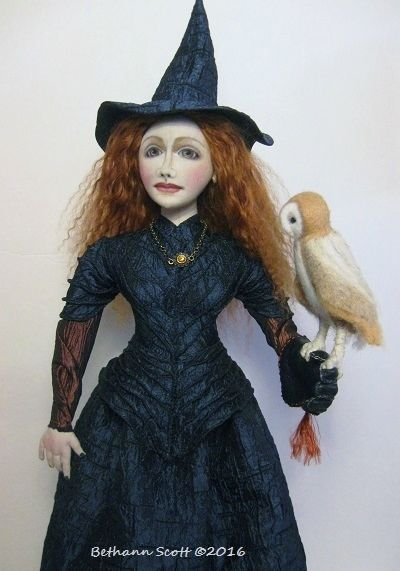 Cloth Witch doll and her Owl by Bethann Scott ©2016