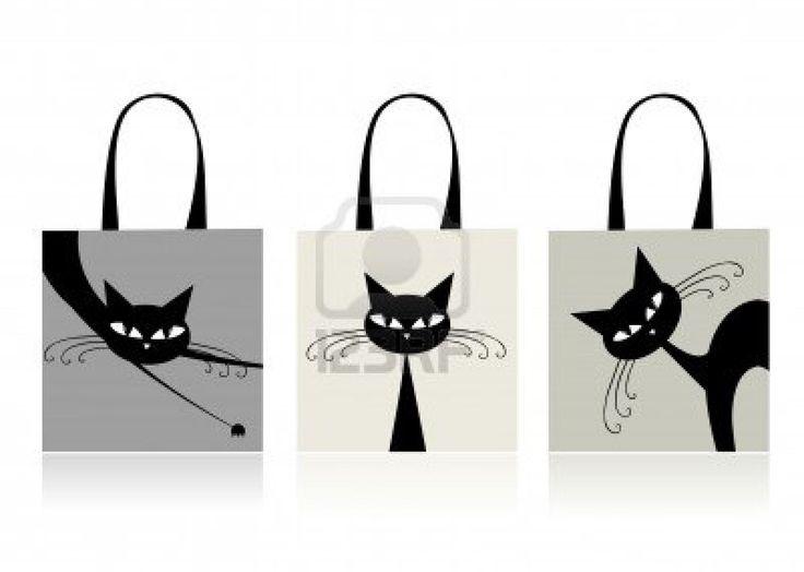 Les chats noirs gracieux, conception des sacs à provisions Banque d'images - 8014737