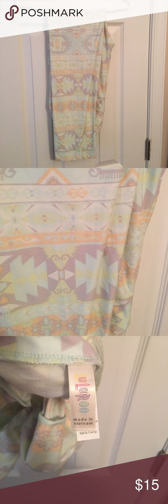 LulaRoe Tall & Curvy - Aztec print leggings Iike NEW - only tried on, I just never wore - beautiful spring/summer pattern - peach, mint, lavender, cream - PRICE FIRM SINCE LIKE NEW LuLaRoe Pants Leggings