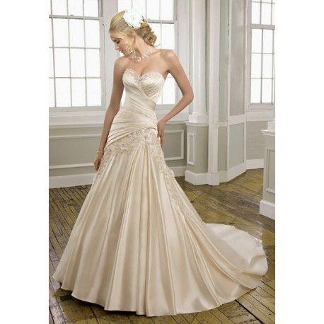 Sweetheart Flowers A-line Asymmetric Waist Satin Wedding Dress