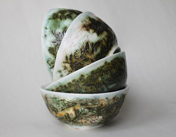 Artistic ceramic green olive bowls set Hand by Natvasclayandpaper