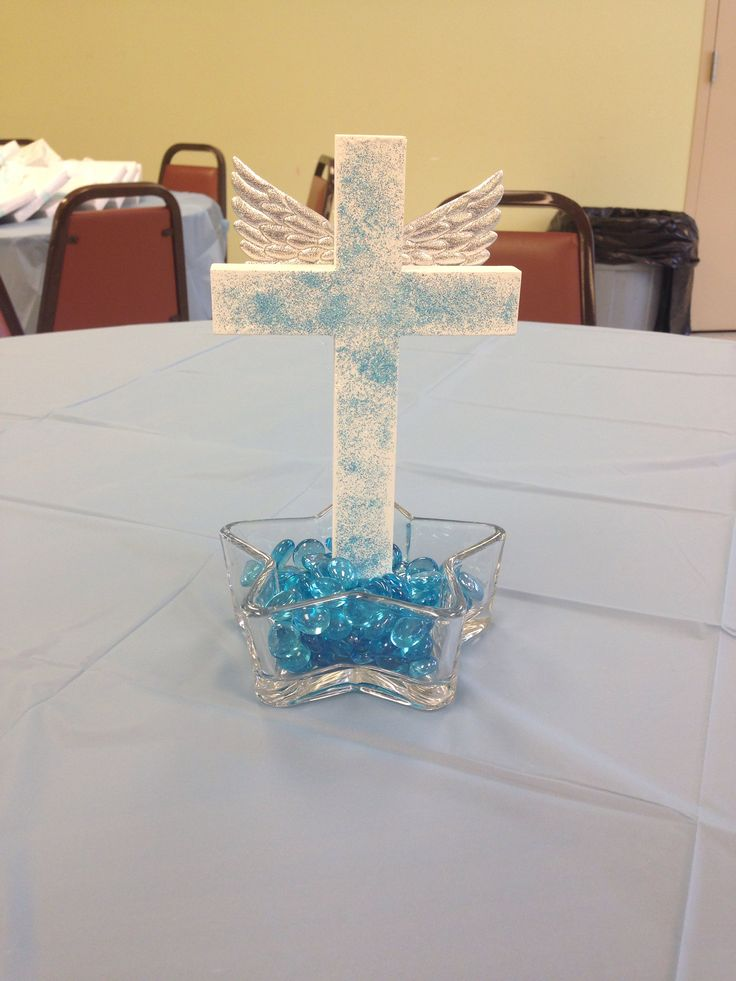 Center piece baby boy baptism pinterest