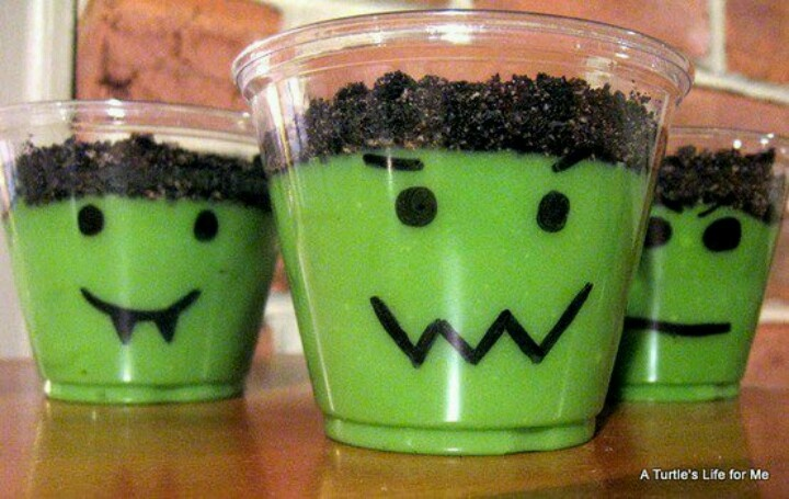 Frankenstein pudding! Color the pudding with green food coloring & crumble oreos on top. Draw on the cup with Sharpie to make the faces. Too cute!