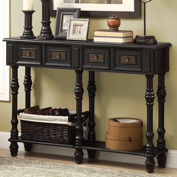 details about narrow antique entryway wood console table