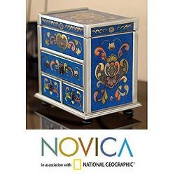 Painted Glass 'Azure Heart' Chest of Drawers (Peru)