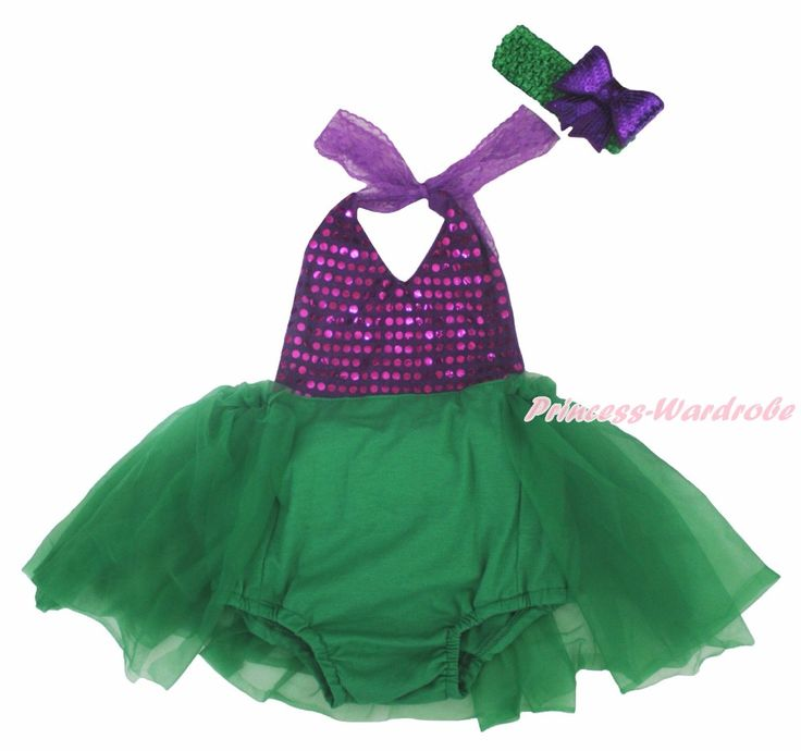 >> Click to Buy << Mermaid Dress Halter Backless Purple Sequins Sunsuit Green Romper Set NB-24m #Affiliate